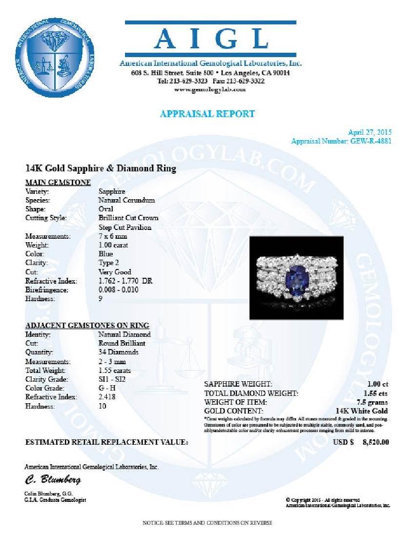 14k Gold 1.00ct Sapphire 1.55ct Diamond Ring - 4