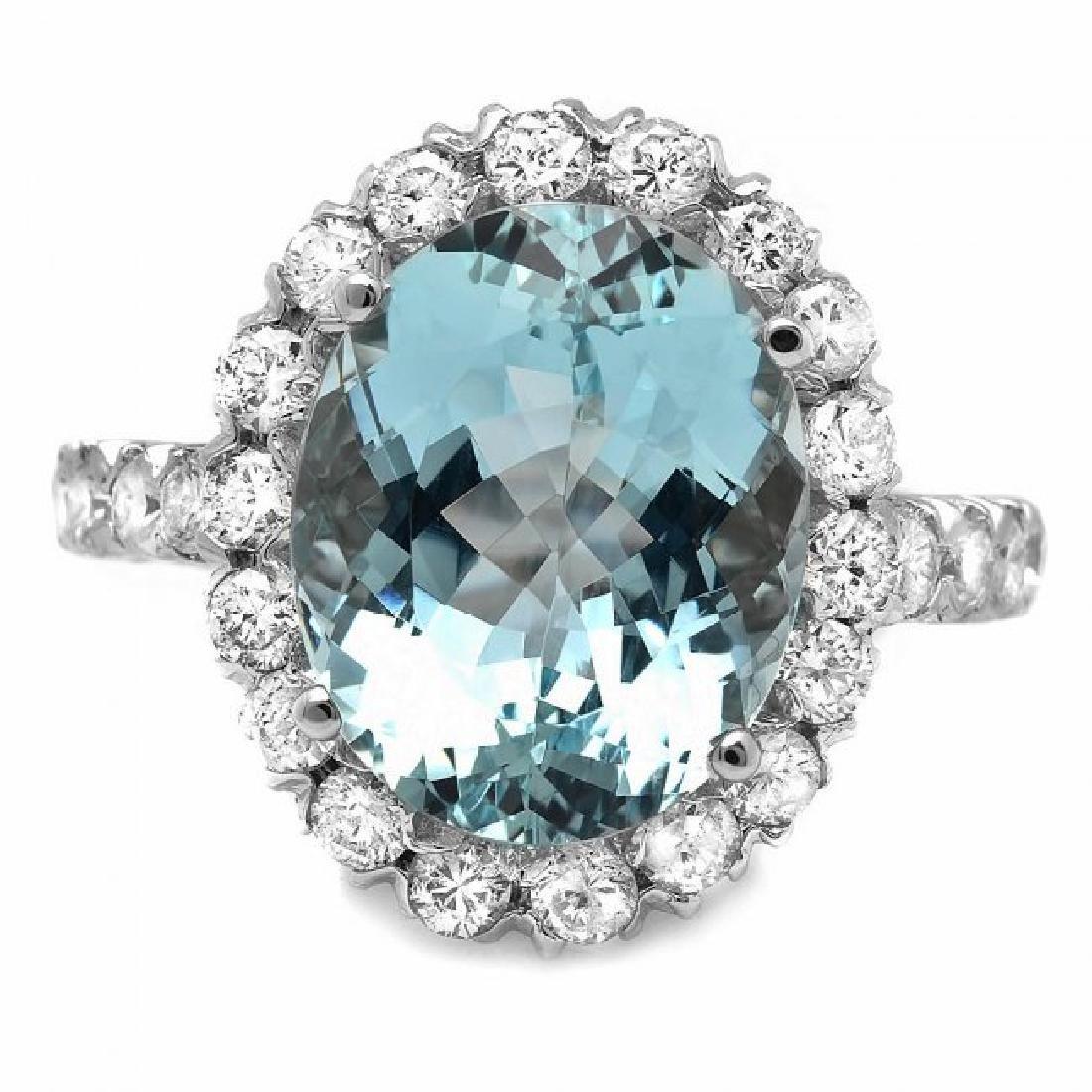14k Gold 7.50ct Aquamarine 1.55ct Diamond Ring - 2