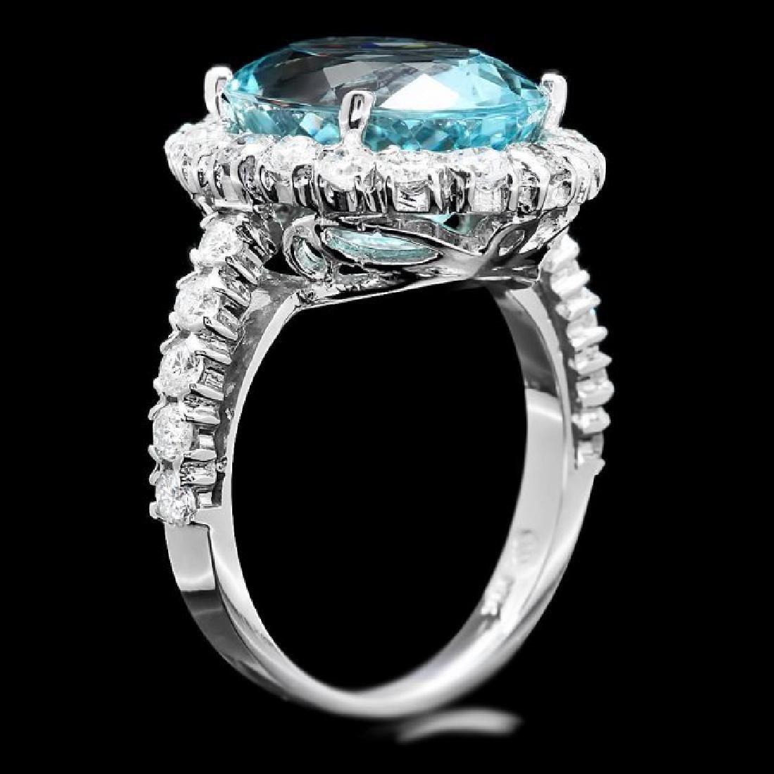 14k Gold 7.50ct Aquamarine 1.55ct Diamond Ring - 3