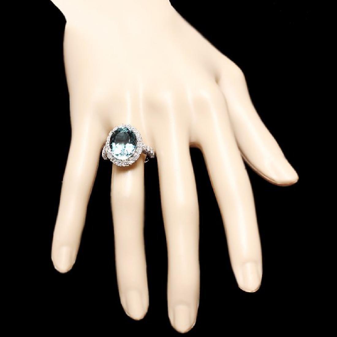 14k Gold 7.50ct Aquamarine 1.55ct Diamond Ring - 4