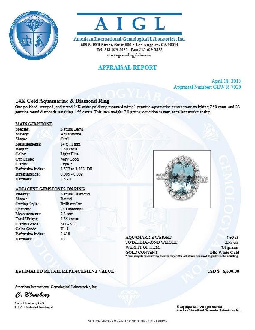 14k Gold 7.50ct Aquamarine 1.55ct Diamond Ring - 5