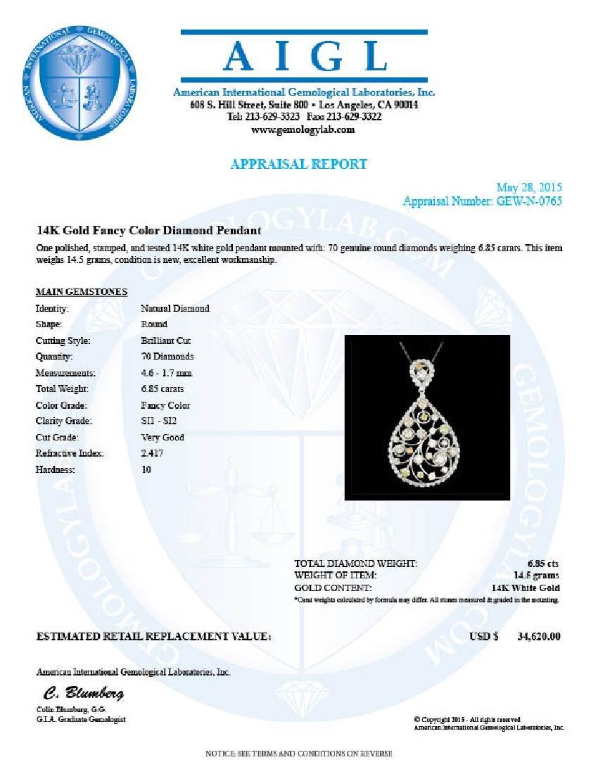 14k White Gold 6.85ct Diamond Pendant - 5