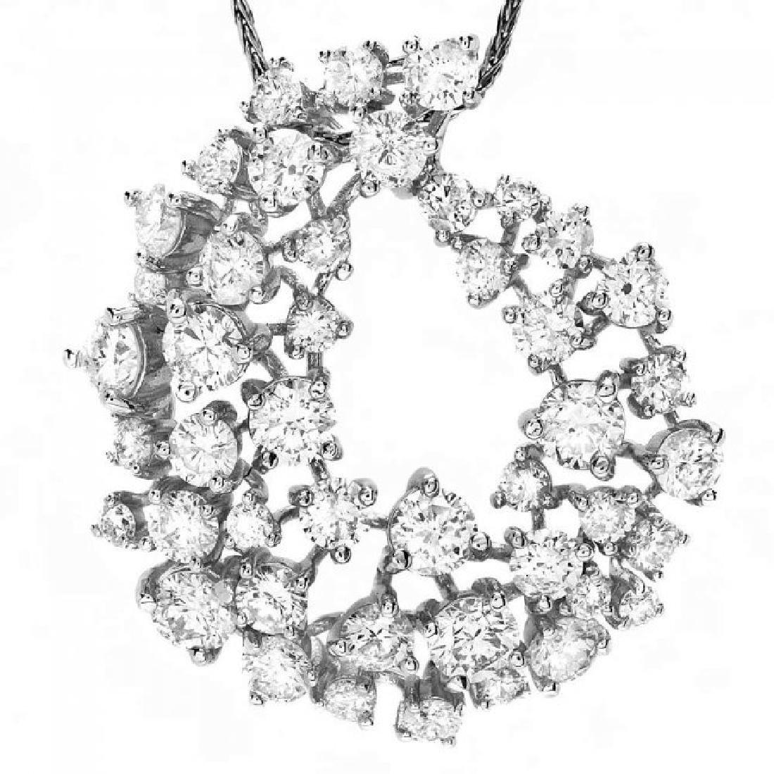 14k White Gold 2.80ct Diamond Pendant - 2
