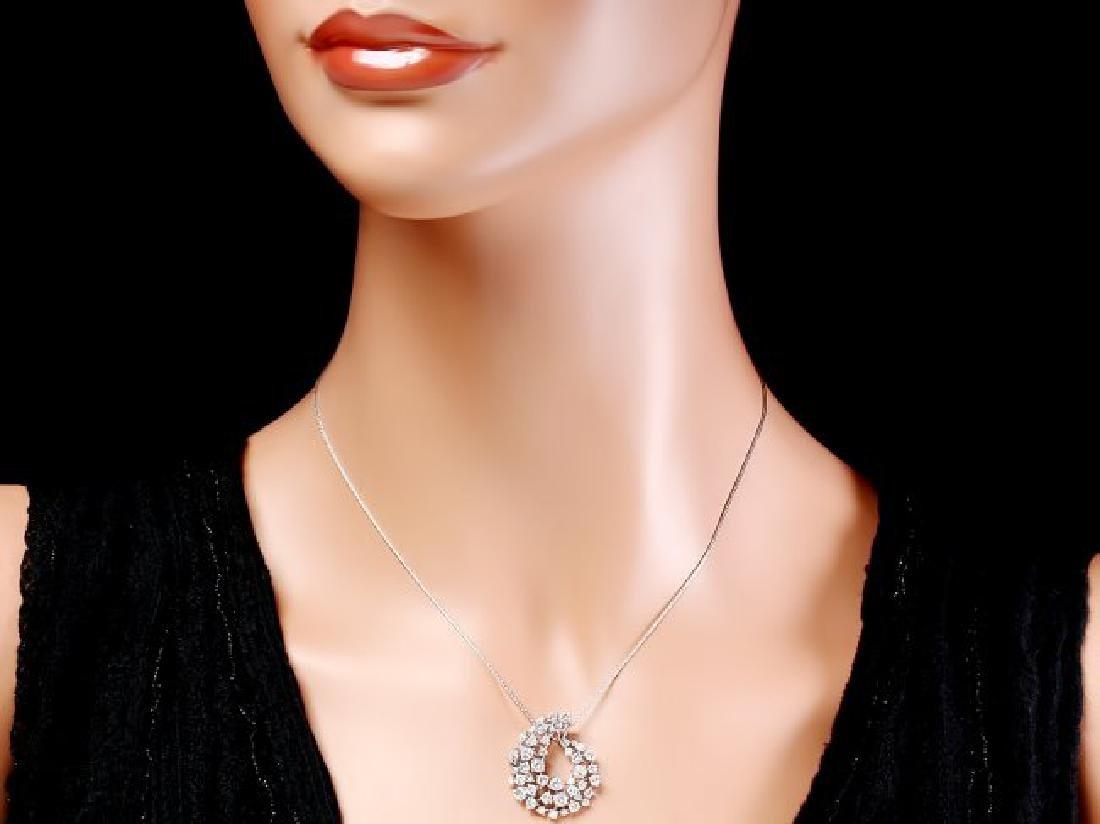 14k White Gold 2.80ct Diamond Pendant - 3