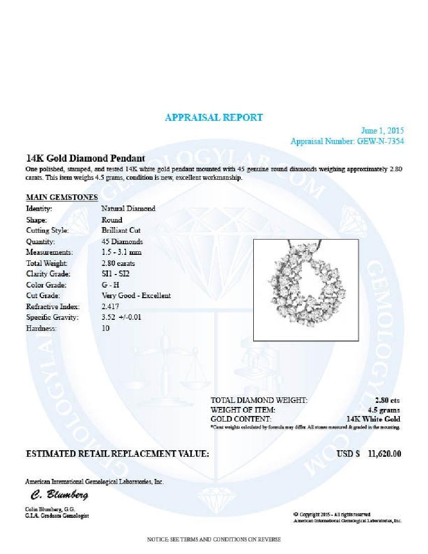 14k White Gold 2.80ct Diamond Pendant - 4