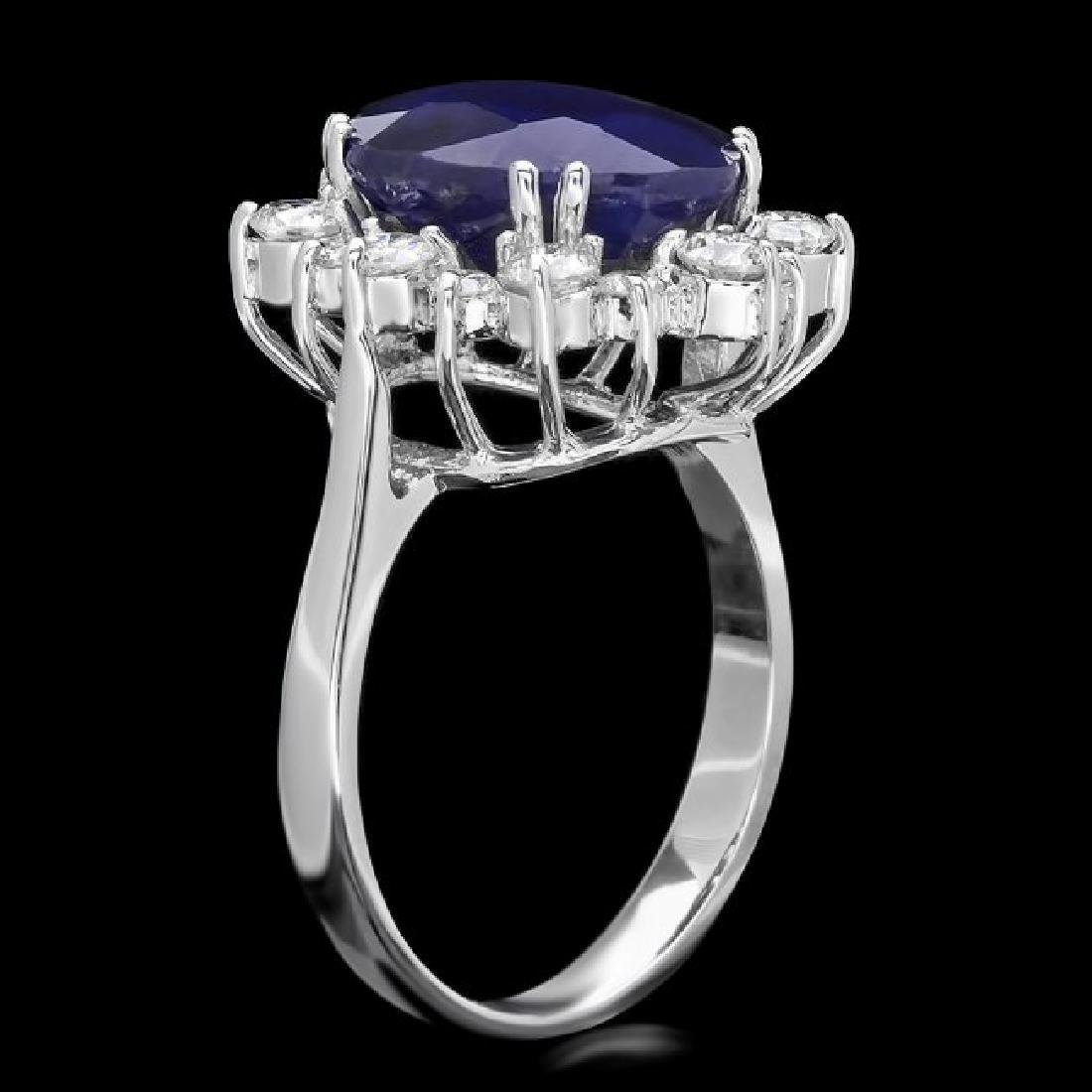 14k Gold 7.00ct Sapphire 1.00ct Diamond Ring - 2