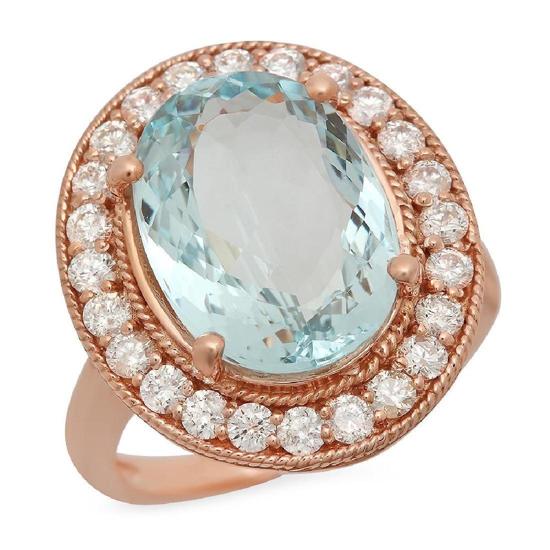 14K Gold 7.68ct Aquamarine 1.00ct Diamond Ring