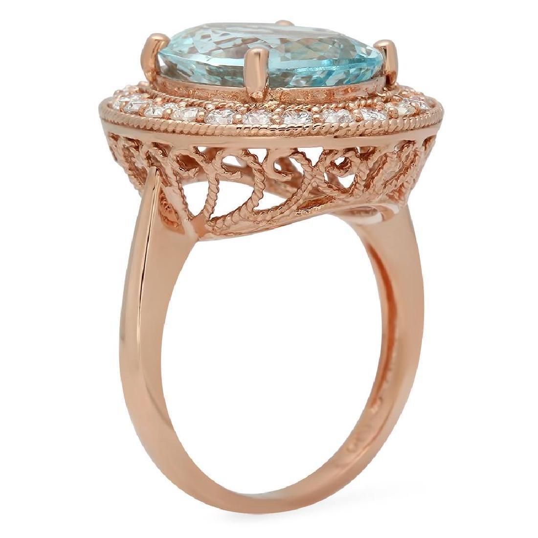 14K Gold 7.68ct Aquamarine 1.00ct Diamond Ring - 2