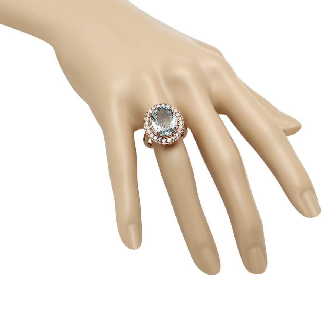 14K Gold 7.68ct Aquamarine 1.00ct Diamond Ring - 3