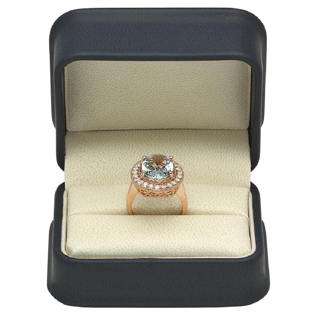 14K Gold 7.68ct Aquamarine 1.00ct Diamond Ring - 4