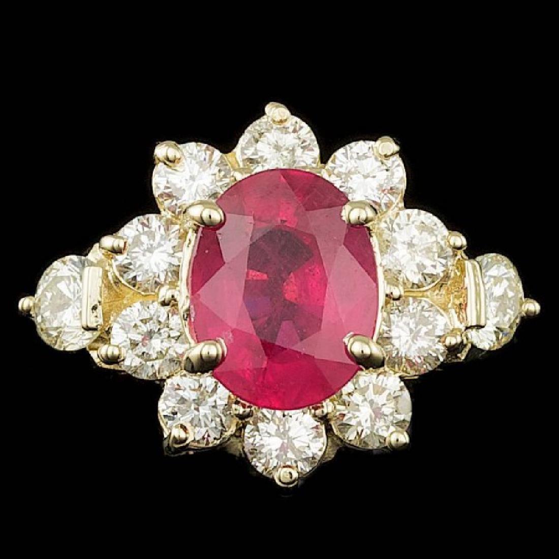 14k Yellow Gold 2.50ct Ruby 1.50ct Diamond Ring
