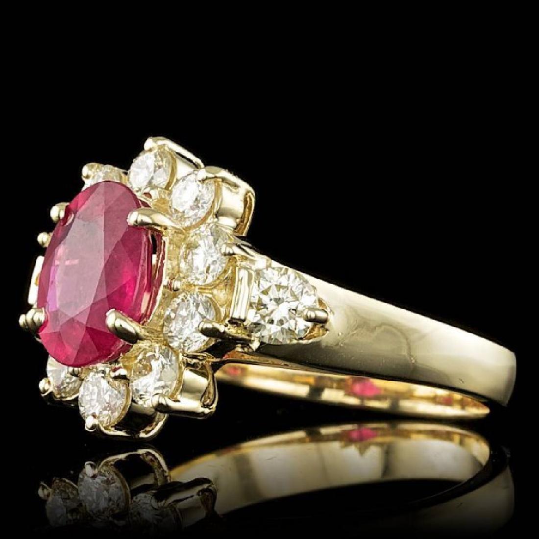 14k Yellow Gold 2.50ct Ruby 1.50ct Diamond Ring - 2
