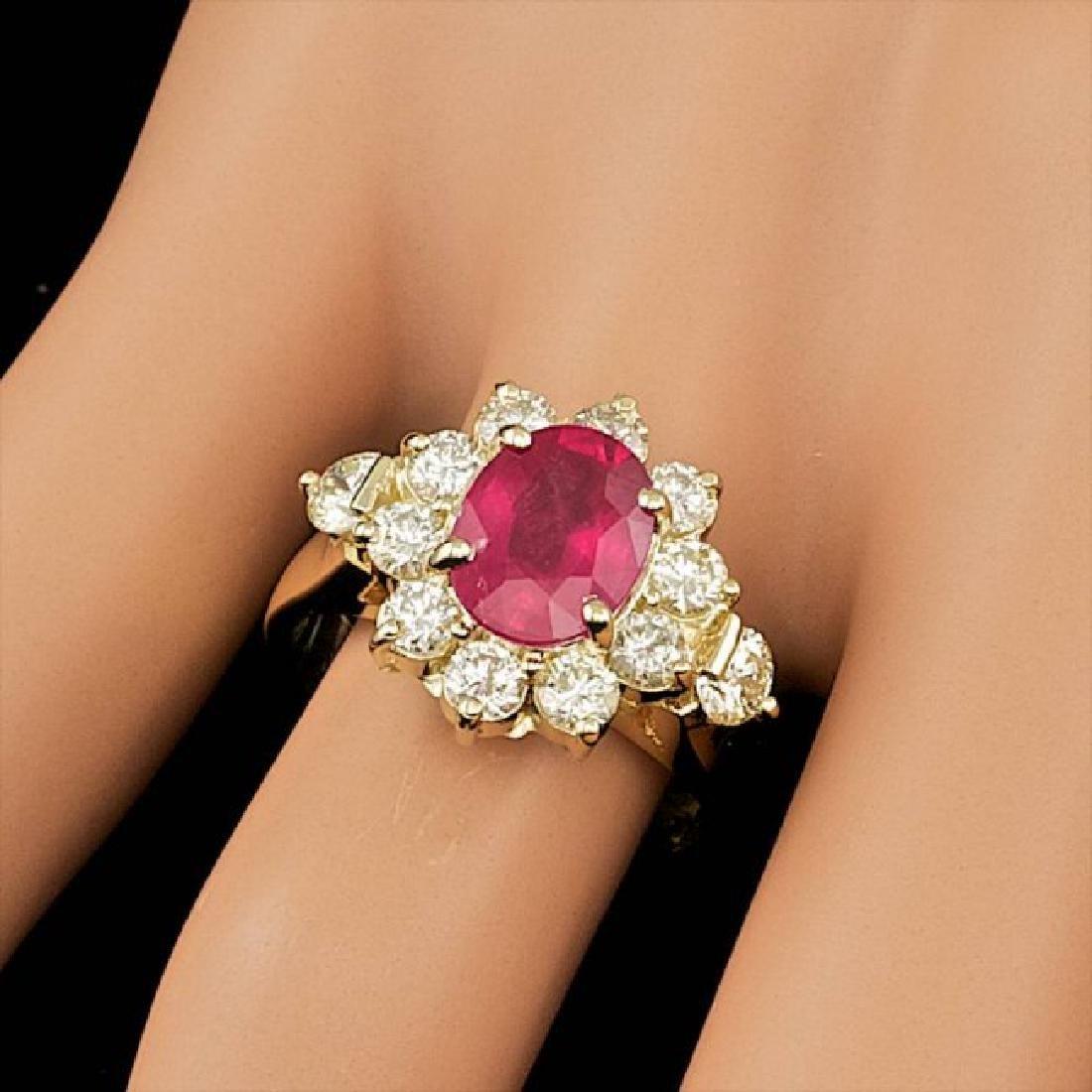 14k Yellow Gold 2.50ct Ruby 1.50ct Diamond Ring - 3