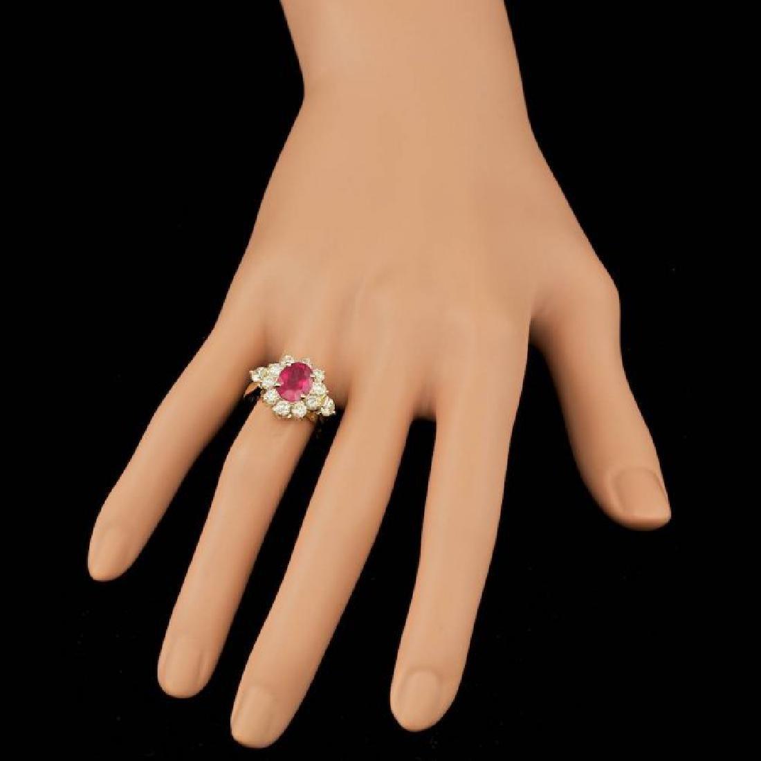 14k Yellow Gold 2.50ct Ruby 1.50ct Diamond Ring - 4