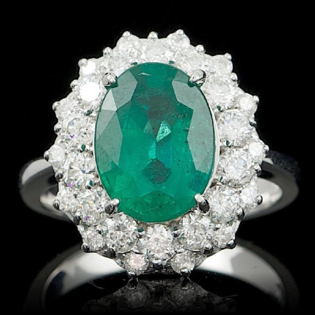 14k White Gold 3.50ct Emerald 1.55ct Diamond Ring - 2