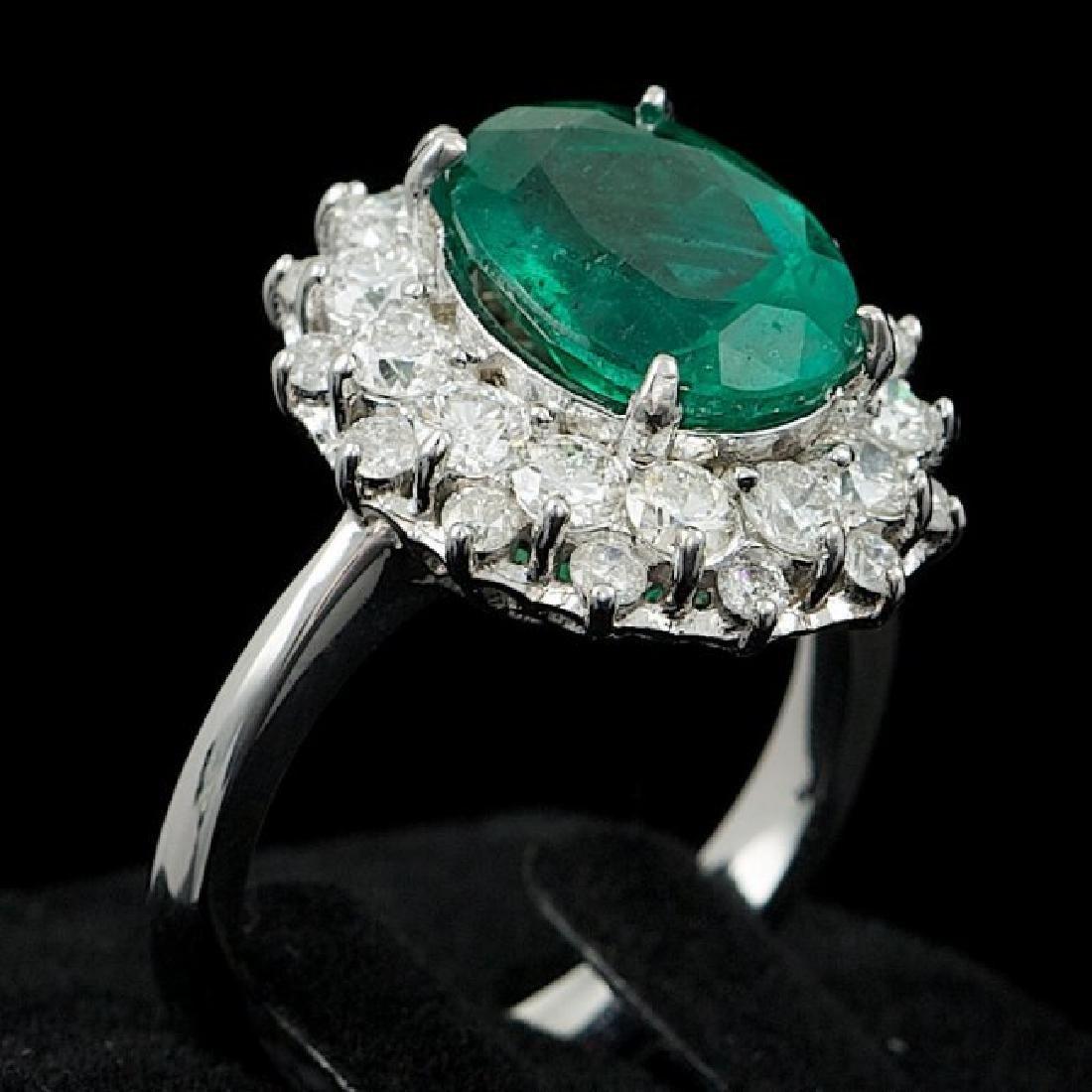 14k White Gold 3.50ct Emerald 1.55ct Diamond Ring - 3