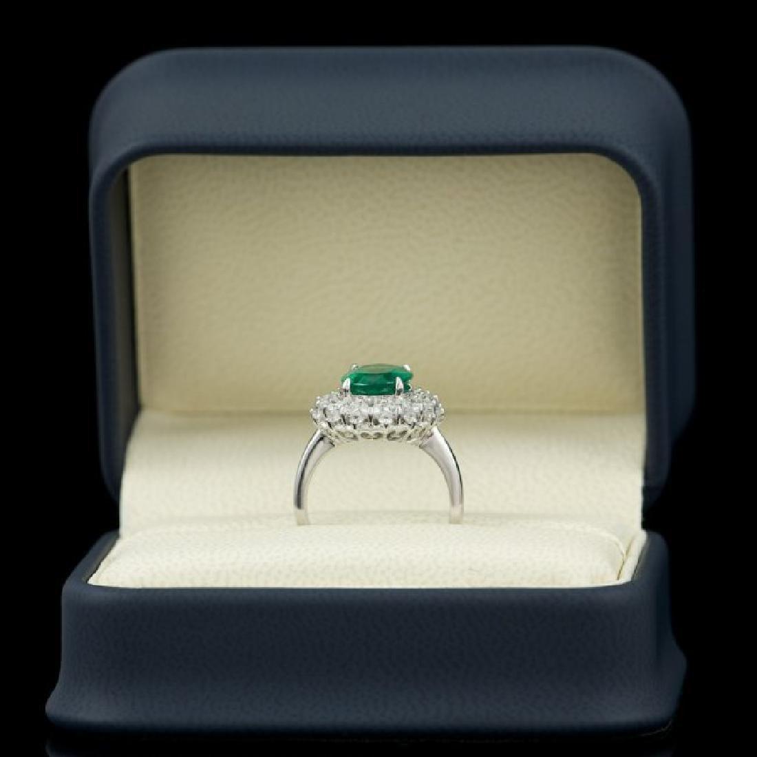 14k White Gold 3.50ct Emerald 1.55ct Diamond Ring - 4
