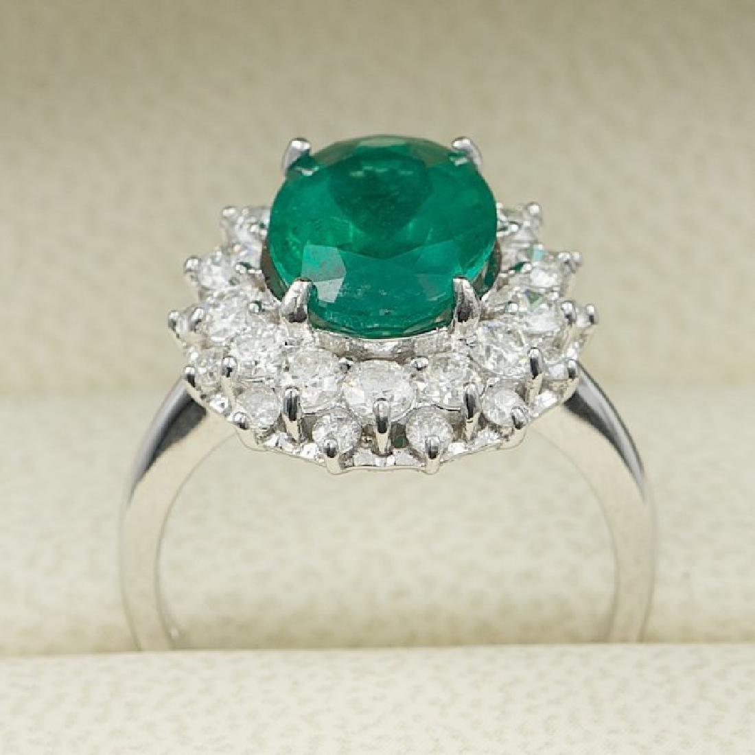14k White Gold 3.50ct Emerald 1.55ct Diamond Ring - 5