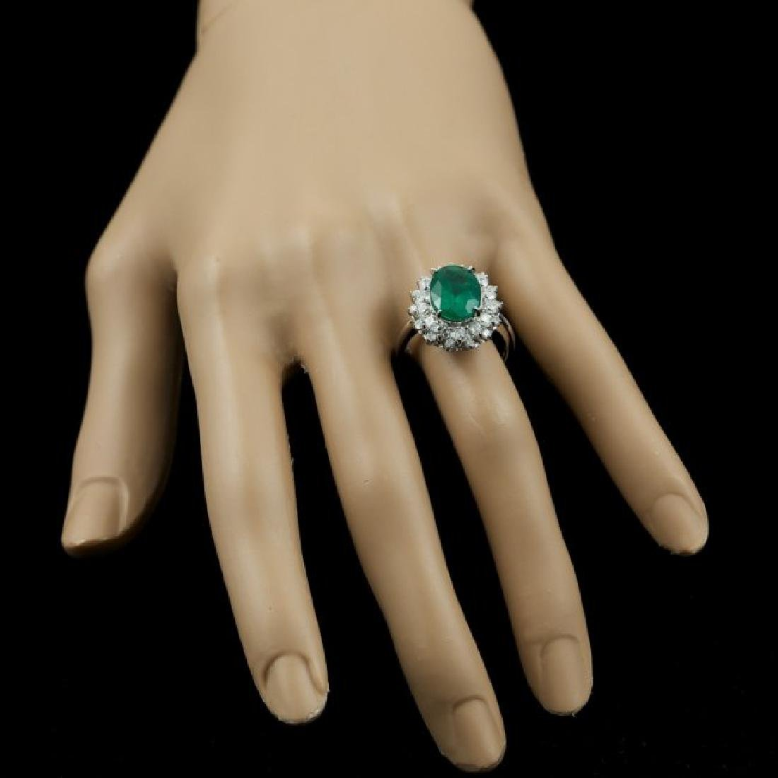 14k White Gold 3.50ct Emerald 1.55ct Diamond Ring - 6