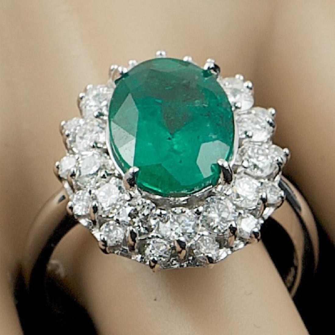 14k White Gold 3.50ct Emerald 1.55ct Diamond Ring - 7