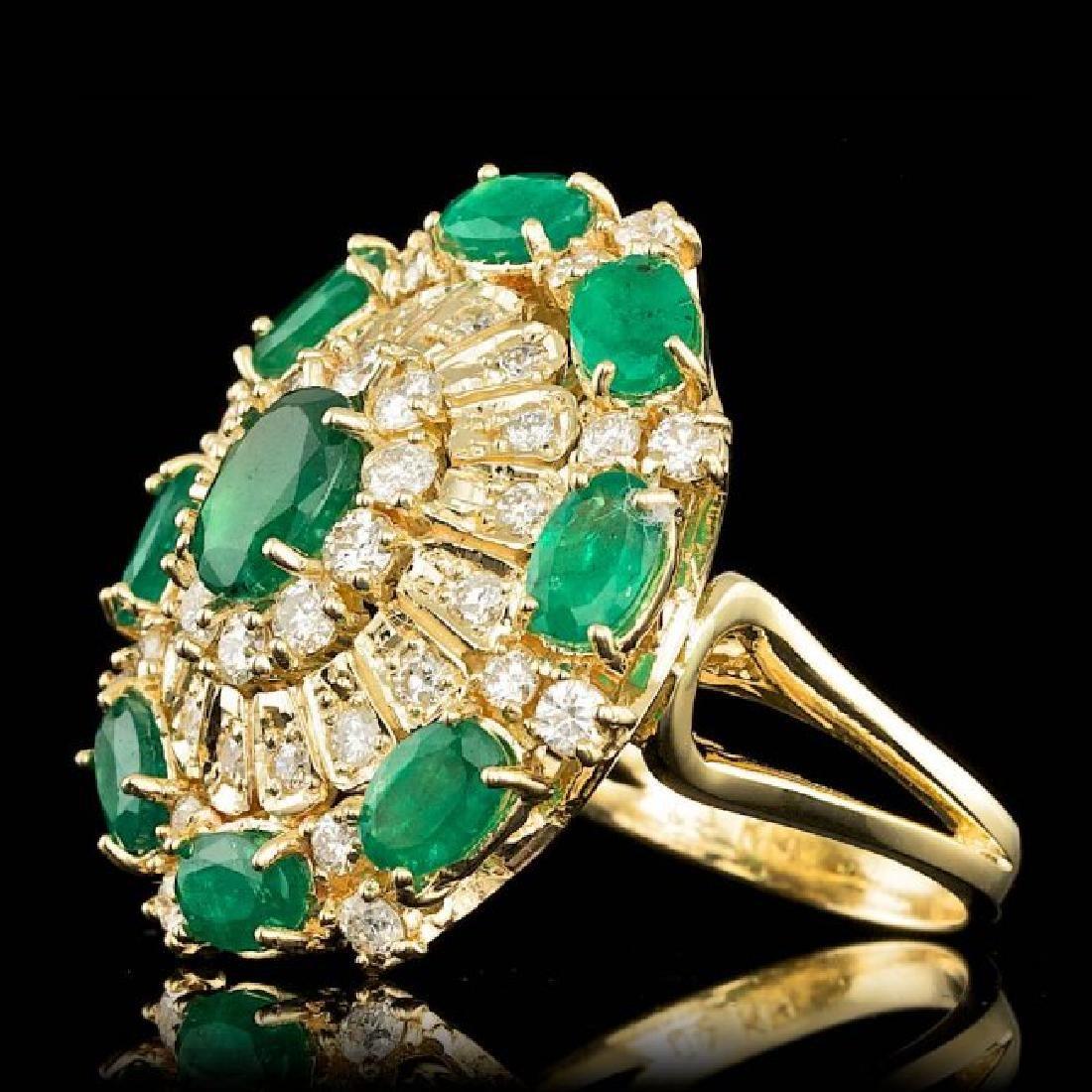 14k Gold 5.00ct Emerald 2.00ct Diamond Ring - 2