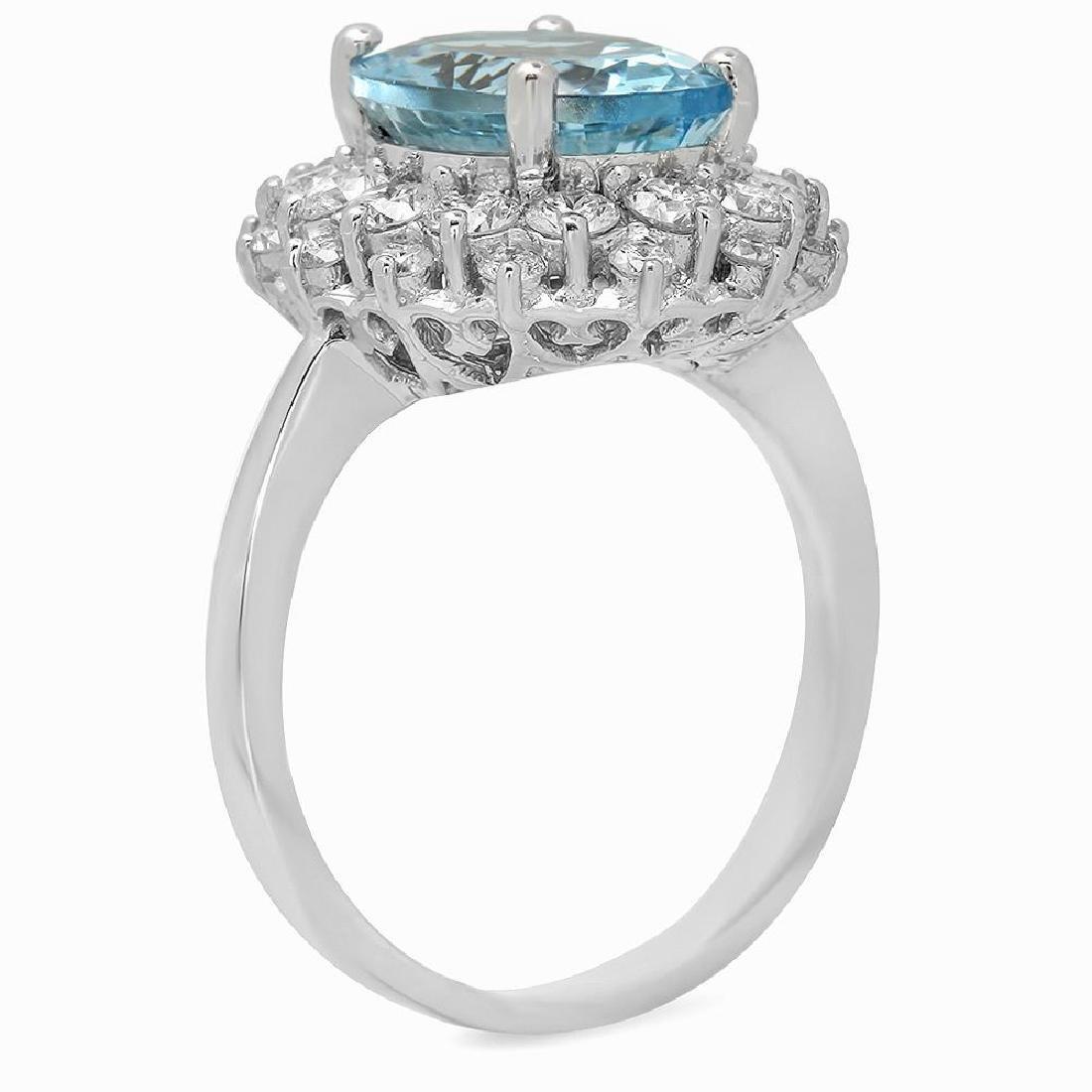 14K Gold 4.20ct Aquamarine 1.85ct Diamond Ring - 2