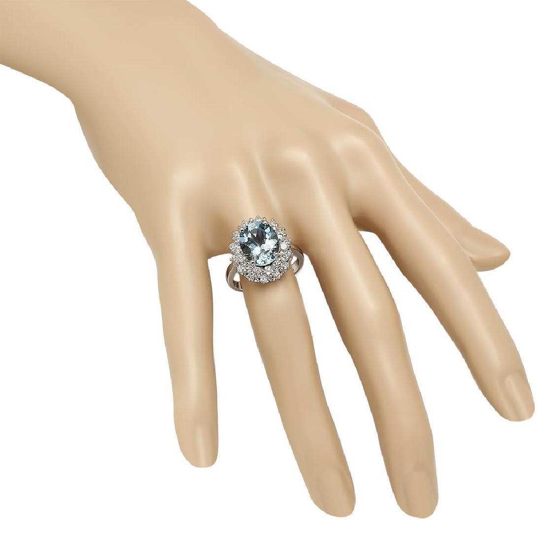 14K Gold 4.20ct Aquamarine 1.85ct Diamond Ring - 3