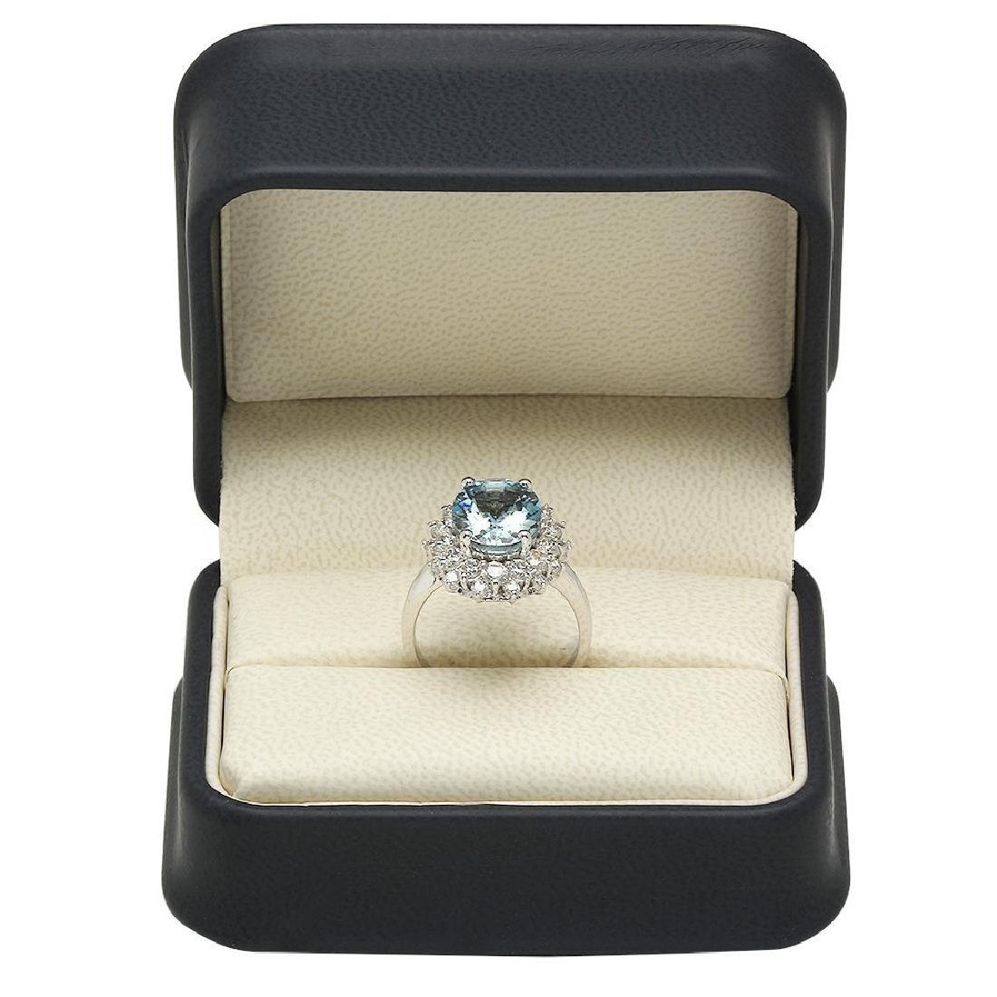 14K Gold 4.20ct Aquamarine 1.85ct Diamond Ring - 4