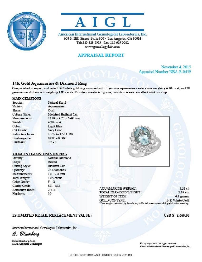 14K Gold 4.20ct Aquamarine 1.85ct Diamond Ring - 5