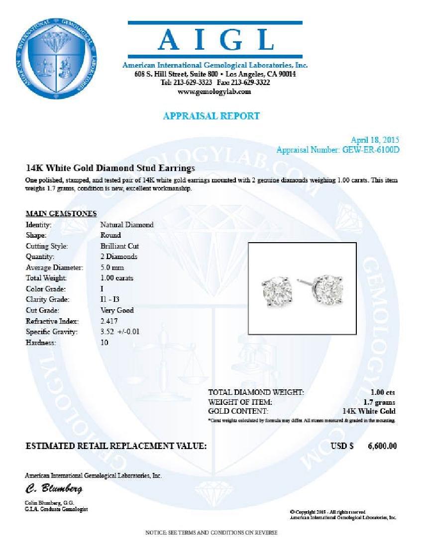 14k White Gold 1.00ct Diamond Earrings - 5