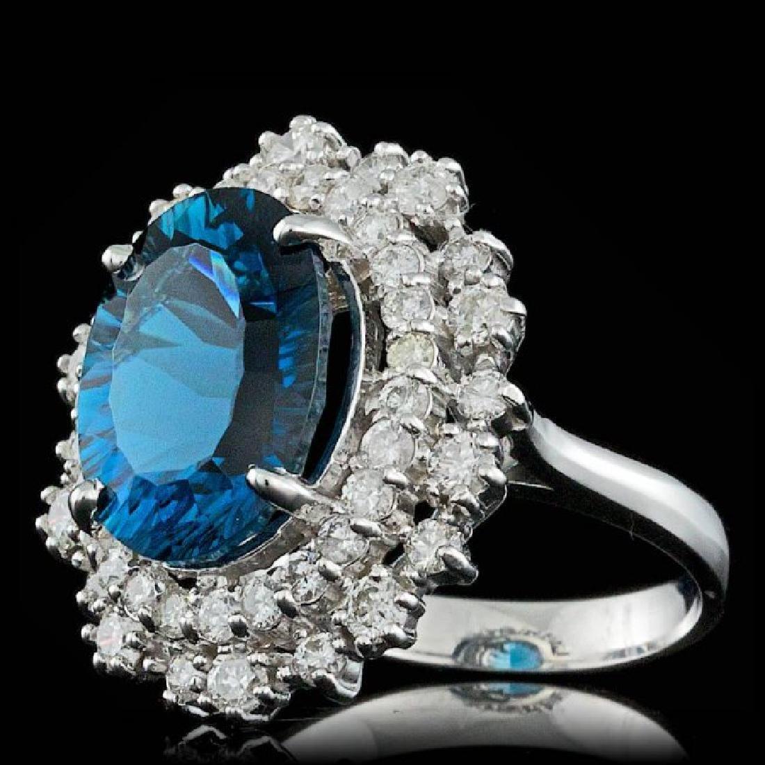 14k White Gold 7.00ct Topaz 1.50ct Diamond Ring - 2