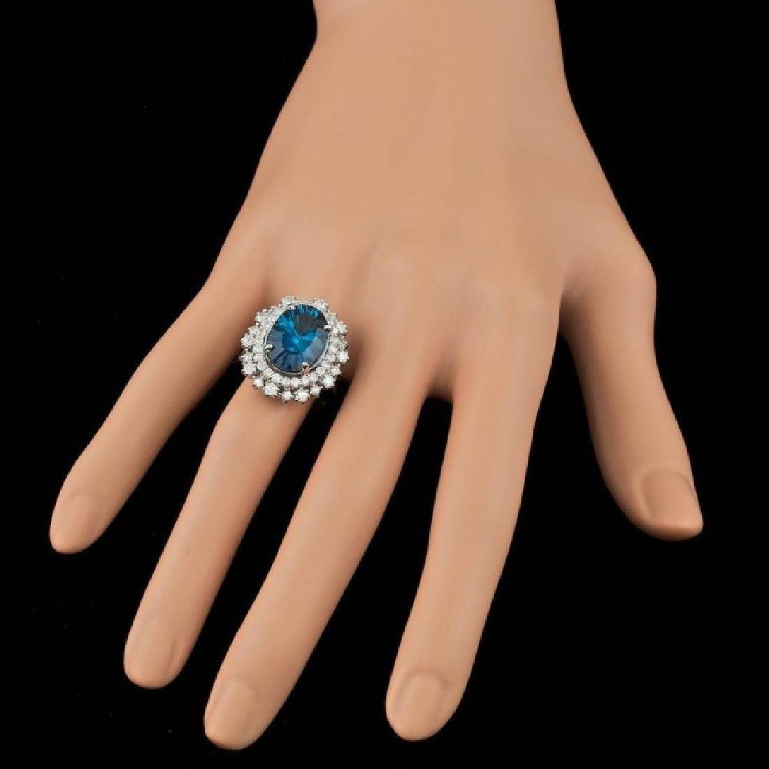 14k White Gold 7.00ct Topaz 1.50ct Diamond Ring - 3