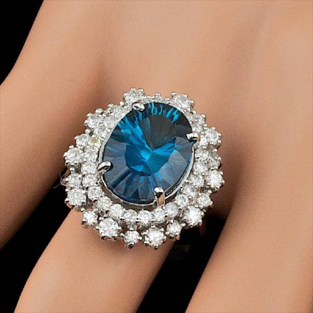 14k White Gold 7.00ct Topaz 1.50ct Diamond Ring - 4