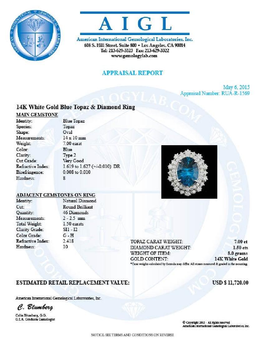 14k White Gold 7.00ct Topaz 1.50ct Diamond Ring - 5