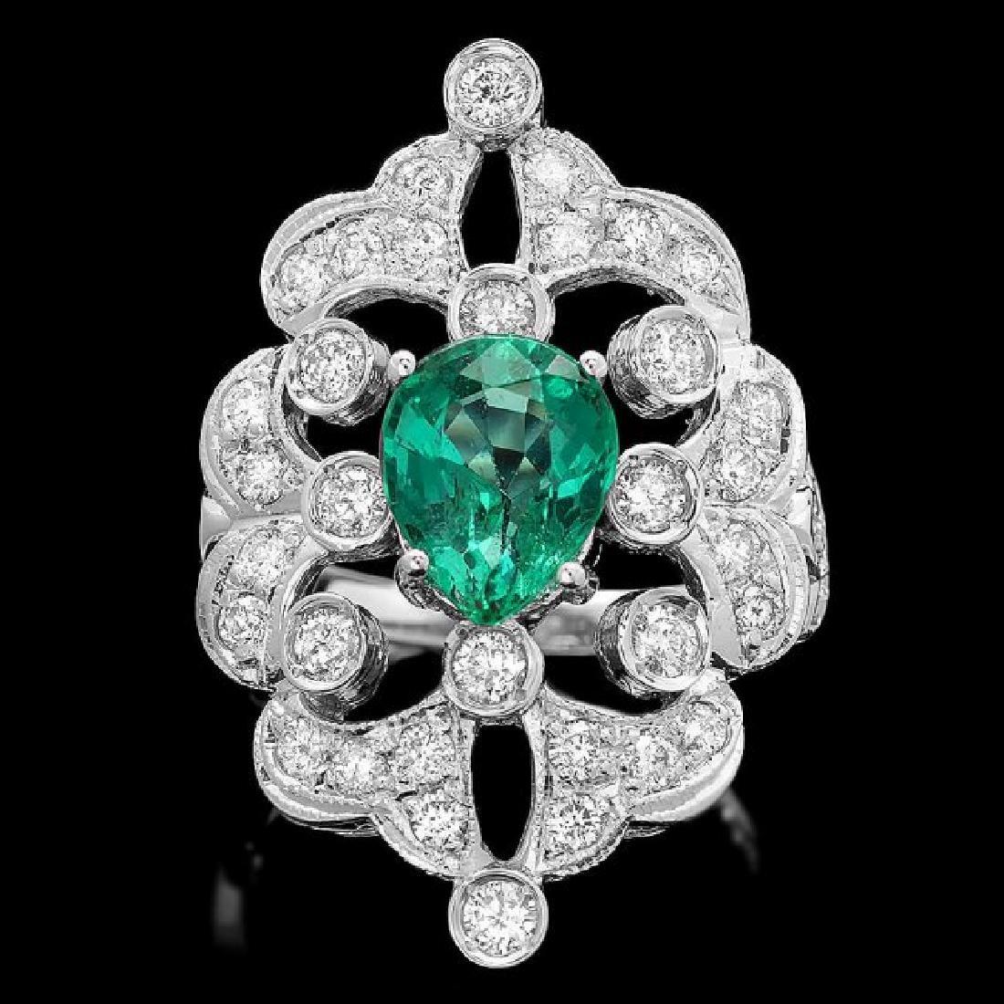 14k White Gold 2.00ct Emerald 1.35ct Diamond Ring