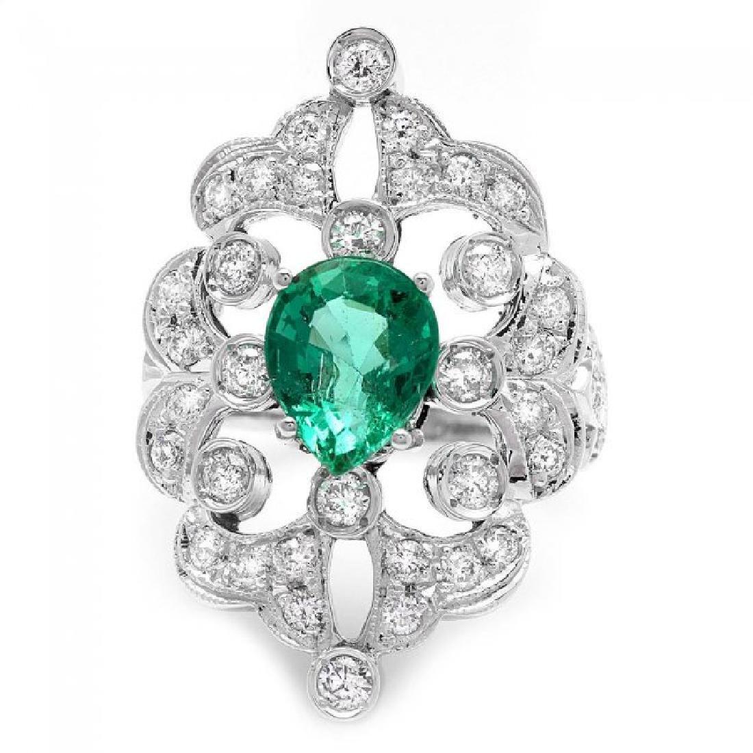 14k White Gold 2.00ct Emerald 1.35ct Diamond Ring - 2