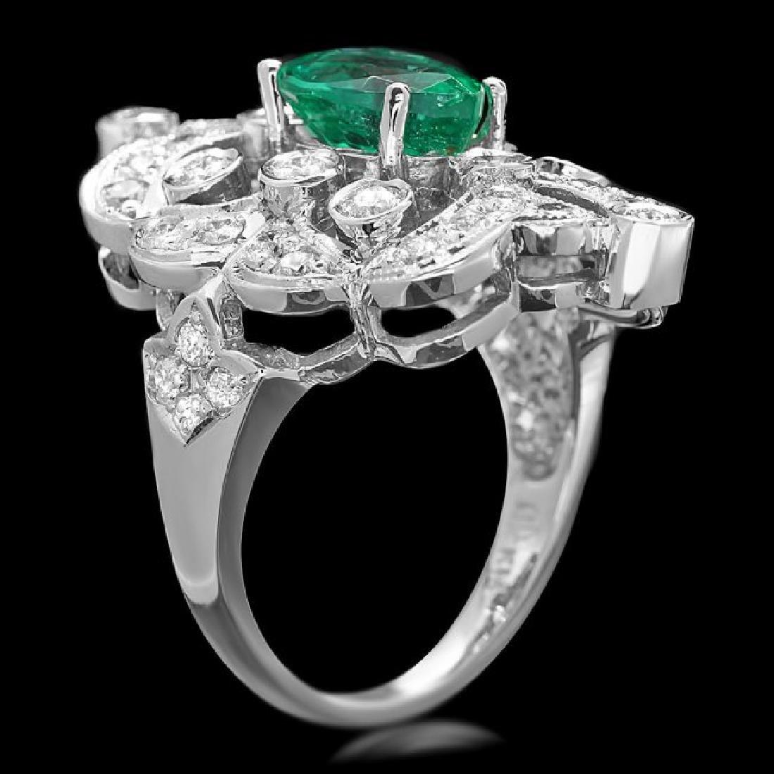 14k White Gold 2.00ct Emerald 1.35ct Diamond Ring - 3
