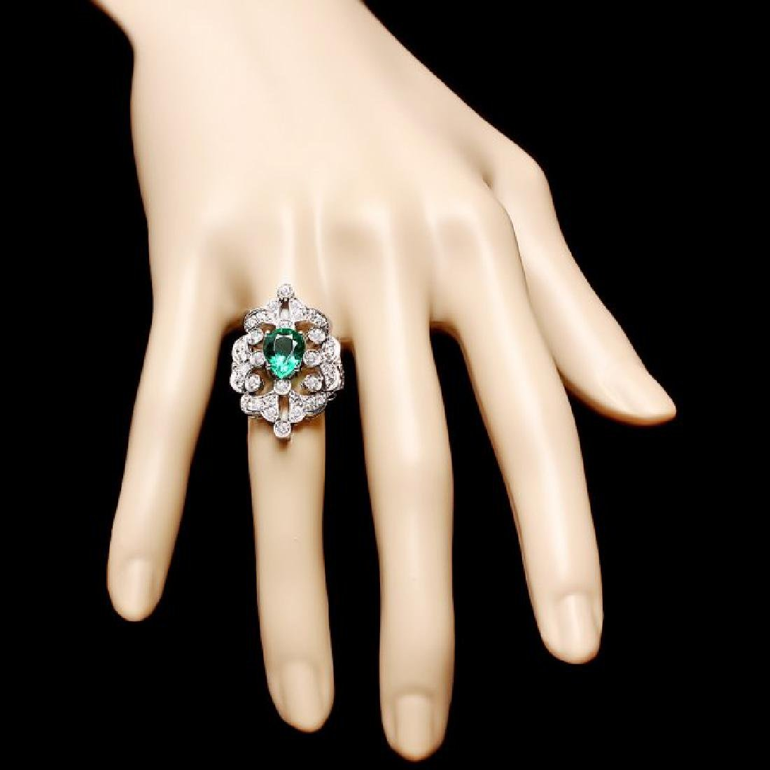 14k White Gold 2.00ct Emerald 1.35ct Diamond Ring - 4