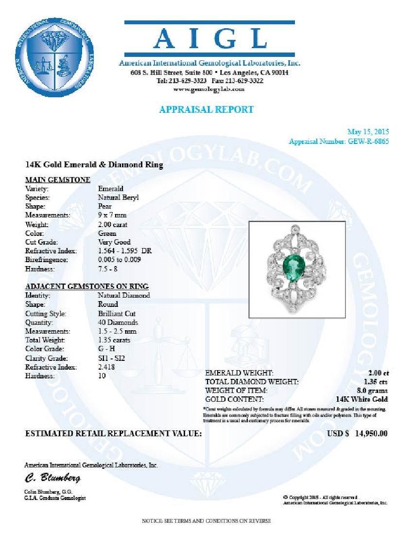 14k White Gold 2.00ct Emerald 1.35ct Diamond Ring - 5