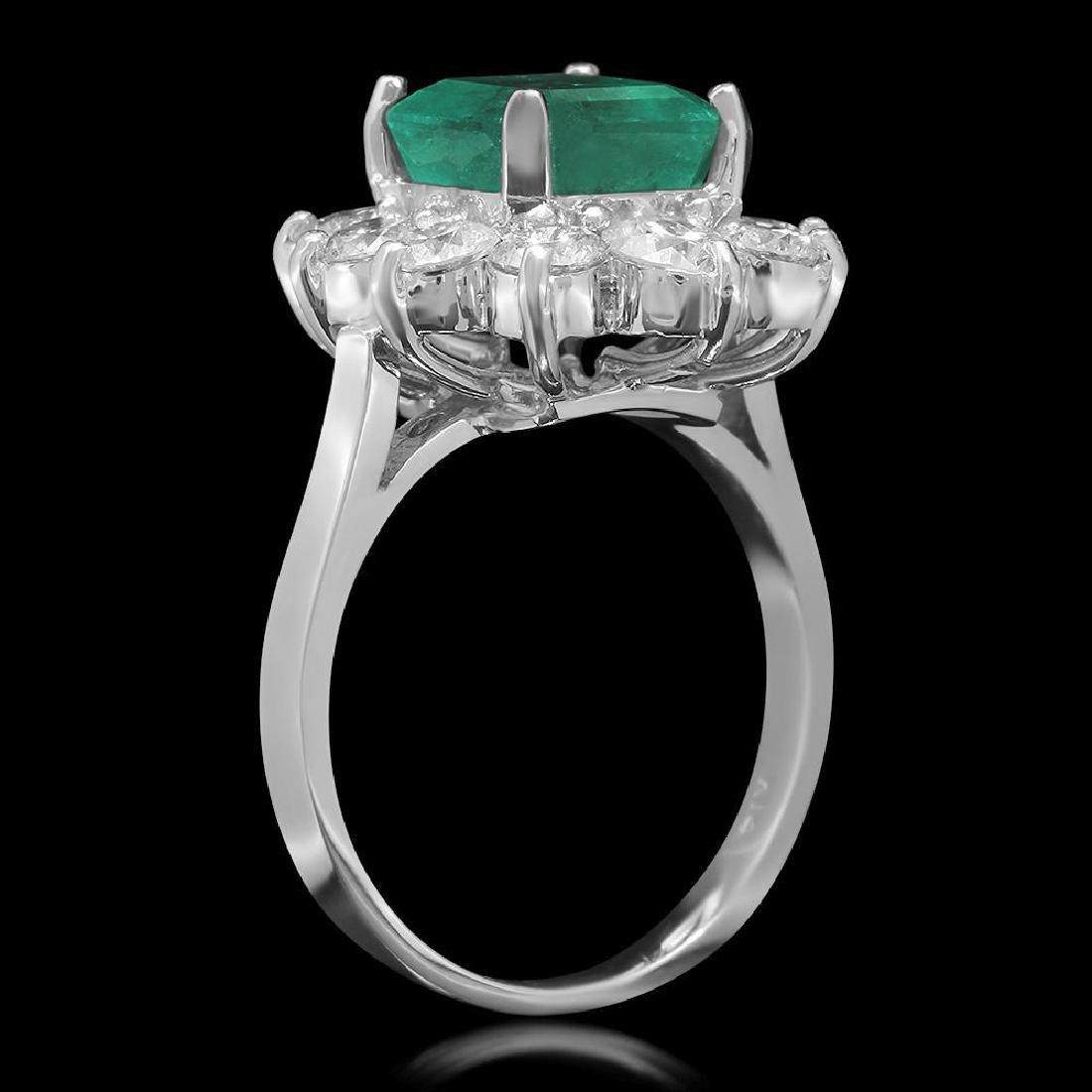 14K Gold 3.49ct Emerald 2.00ct Diamond Ring - 2
