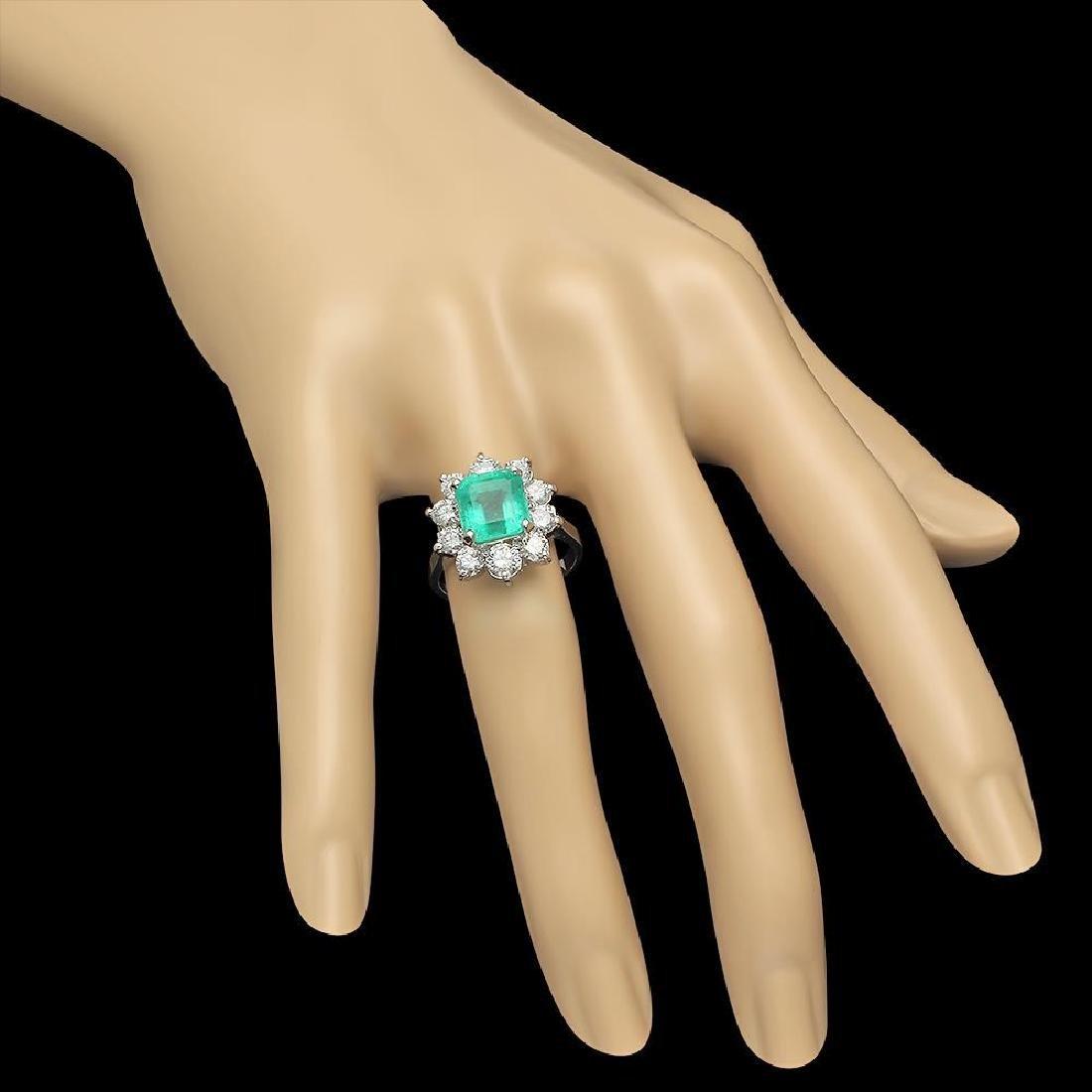 14K Gold 3.49ct Emerald 2.00ct Diamond Ring - 3