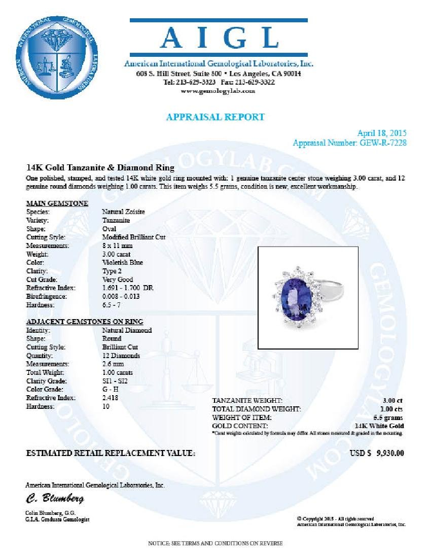14k Gold 3.00ct Tanzanite 1.00ct Diamond Ring - 5