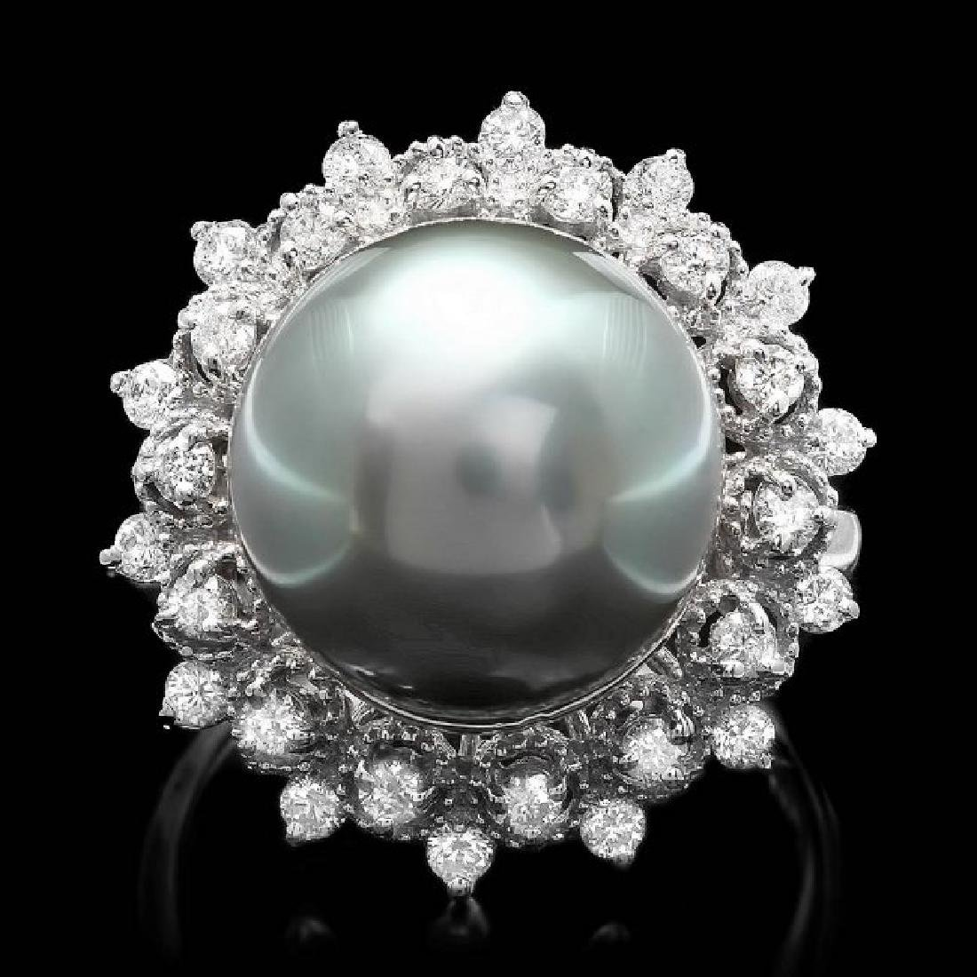 14k White Gold 13mm Pearl 0.60ct Diamond Ring