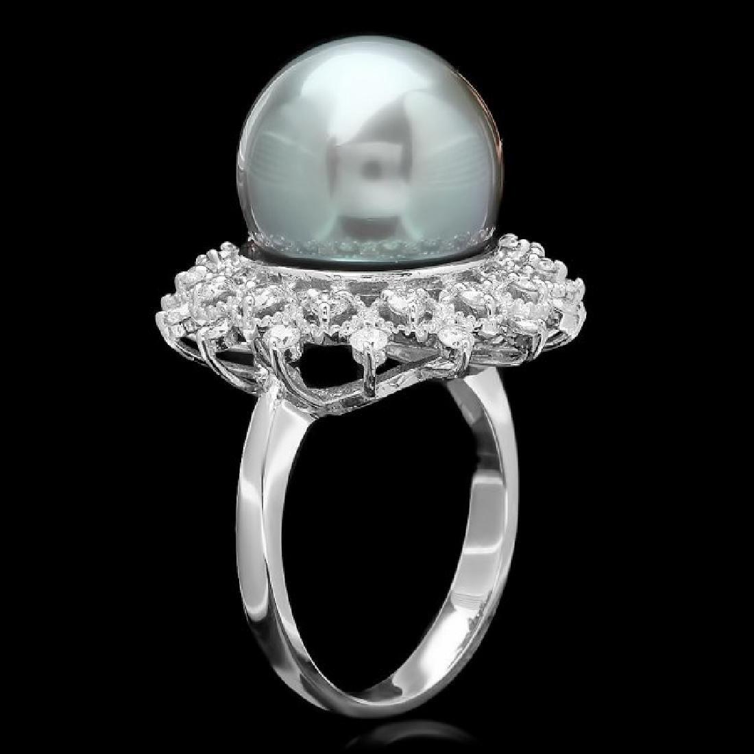 14k White Gold 13mm Pearl 0.60ct Diamond Ring - 2