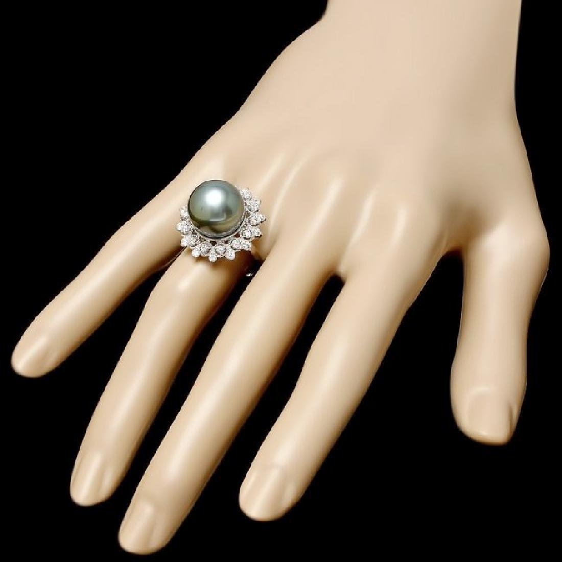 14k White Gold 13mm Pearl 0.60ct Diamond Ring - 3