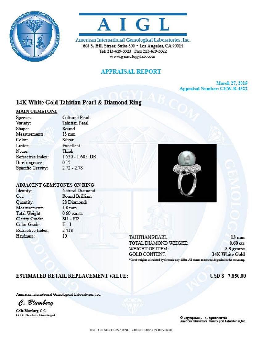 14k White Gold 13mm Pearl 0.60ct Diamond Ring - 4