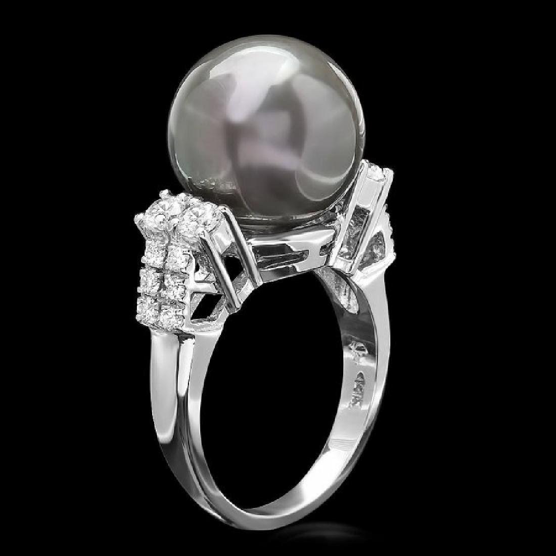 14k Gold 13 X 13mm Pearl 0.70ct Diamond Ring - 2
