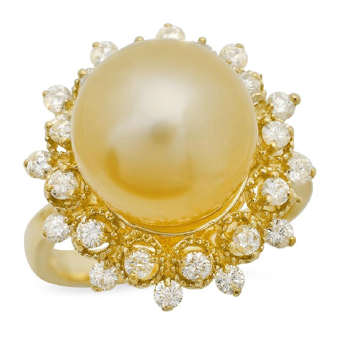 14K Gold 12mm Pearl 0.77cts Diamond Ring