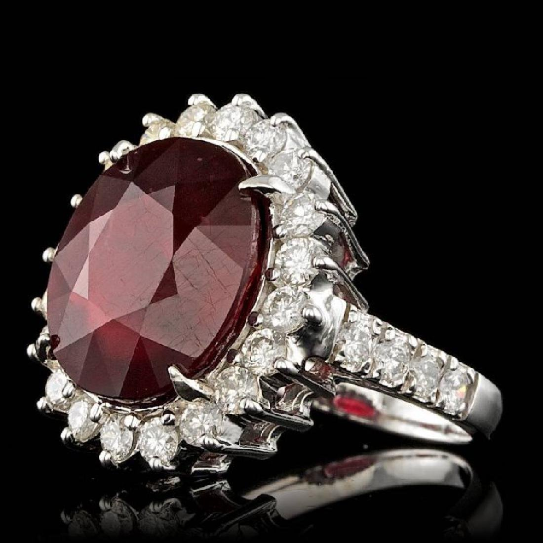 14k White Gold 12.50ct Ruby 1.50ct Diamond Ring - 2