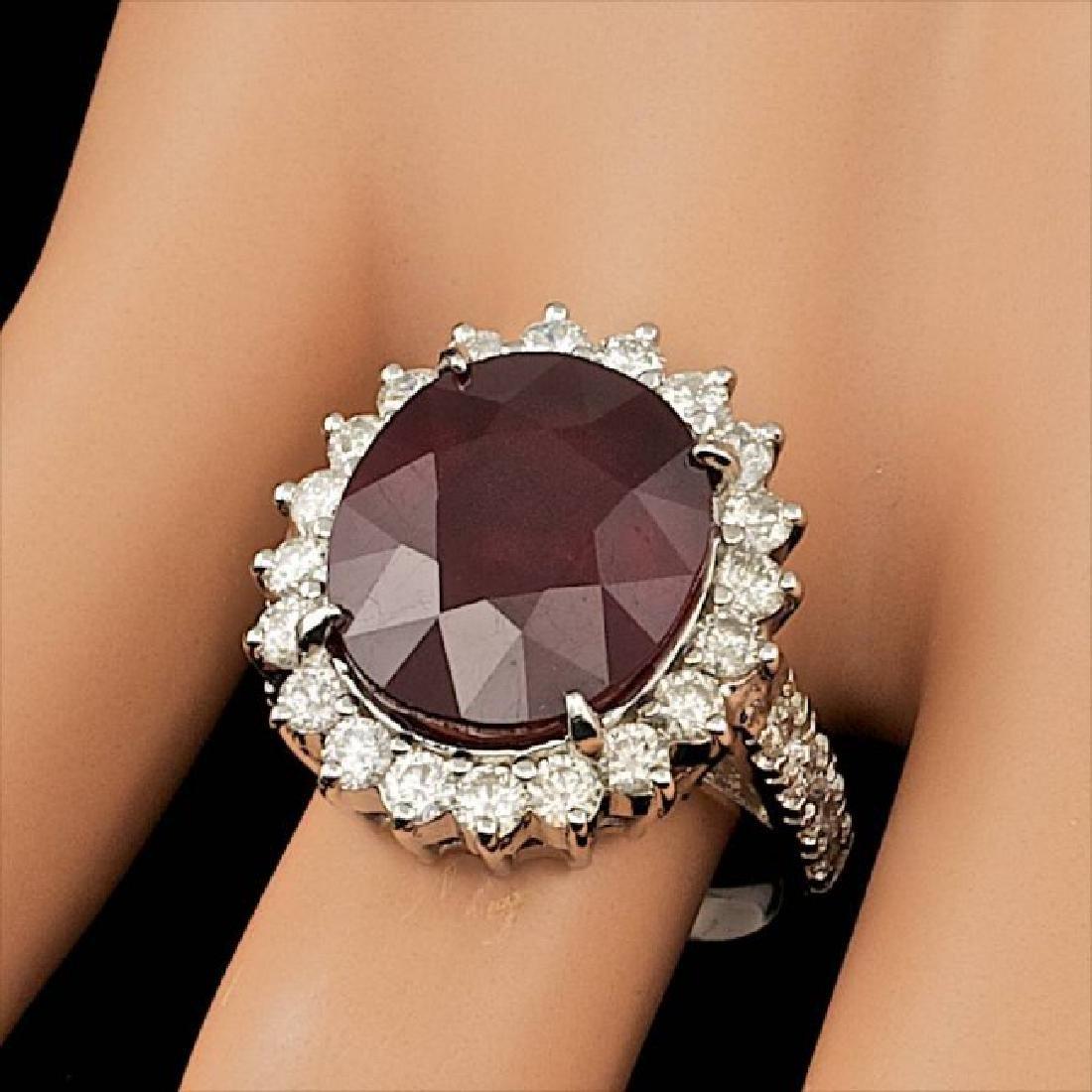 14k White Gold 12.50ct Ruby 1.50ct Diamond Ring - 3